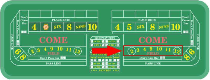 The field bet is only valid on a single roll of the dice.