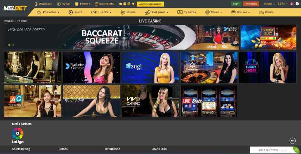 Melbet's homepage featuring live casino games