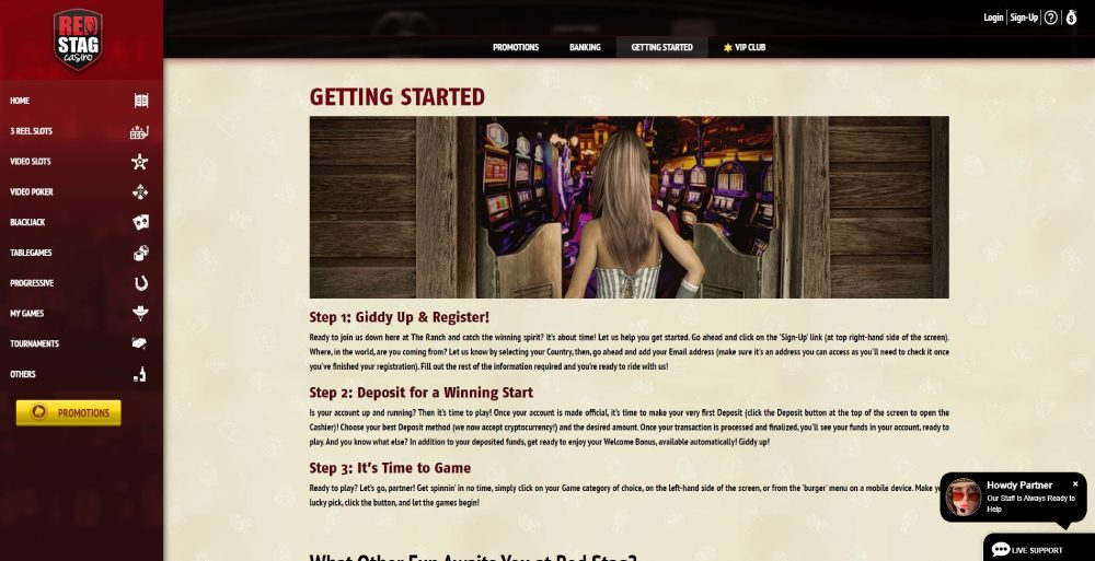 Red Stag Casino getting started page