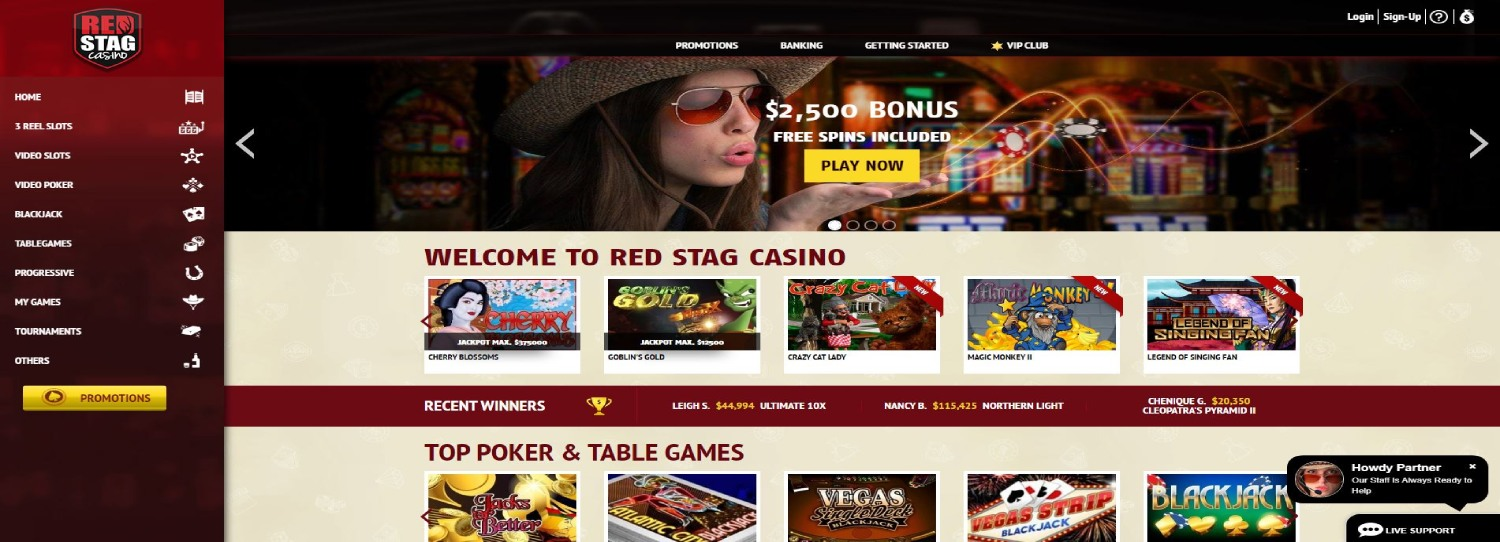 Red Stag casino main page