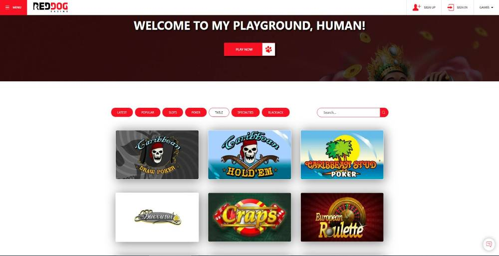 Play online Craps at Red Dog Casino
