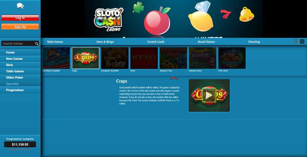 You can play live or demo Craps at SlotoCash